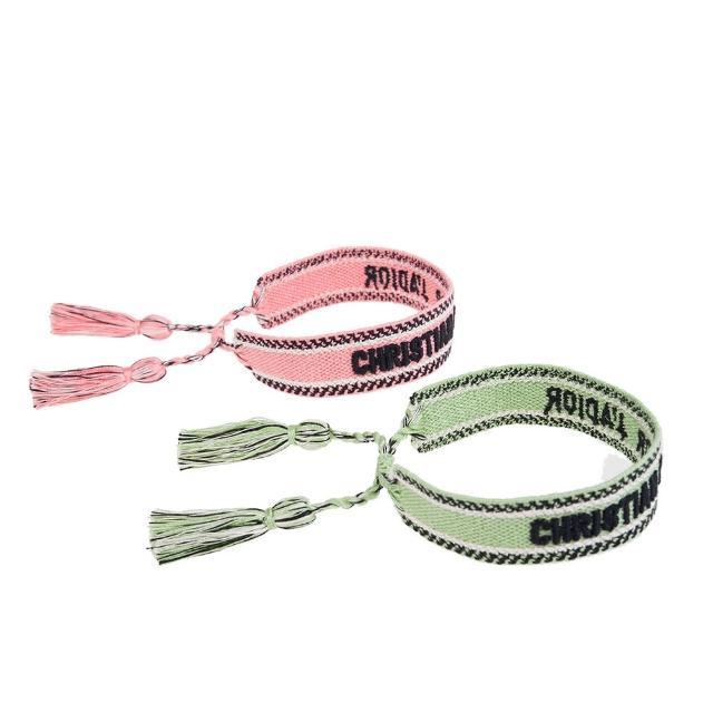 【Dior 迪奧】新色Dior Oblique字母圖案純棉編織手環2副1組(草綠/粉橘)