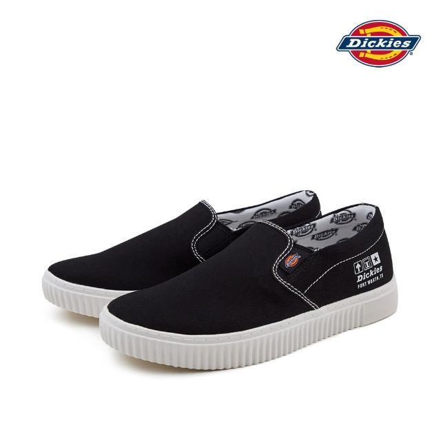 【Dickies】Dickies男女款黑色帆布設計印花休閒懶人鞋 DK007574CC2