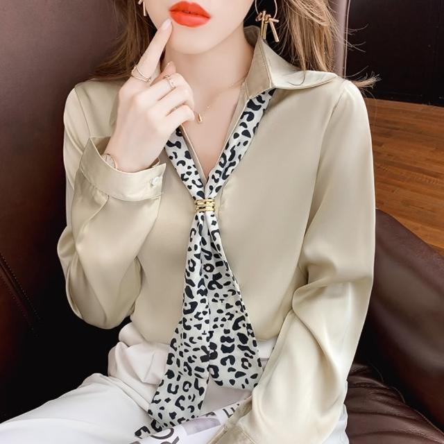 【白色戀人】時尚絲巾飄帶柔滑氣質純色翻領上衣S-2XL(共二色)