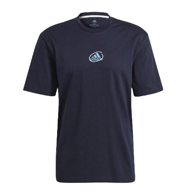 【adidas 愛迪達】T恤 Athletics Graphic T 男款 愛迪達 塗鴉 圓領 棉質 短袖上衣 穿搭 藍 白(GN6846)