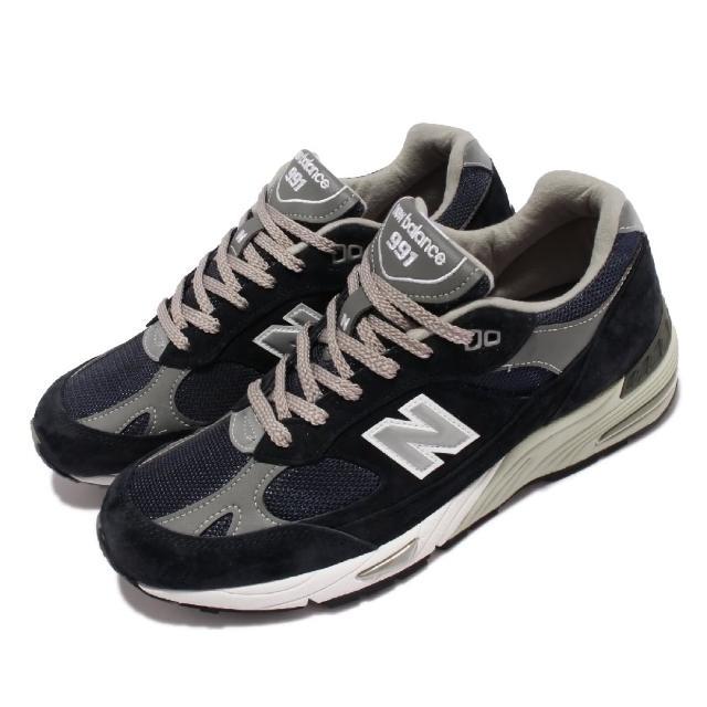 【NEW BALANCE】休閒鞋 991 復古慢跑鞋 英國製 男鞋 紐巴倫 反光 麂皮 網布 異材質 穿搭 藍 白(M991NV-D)