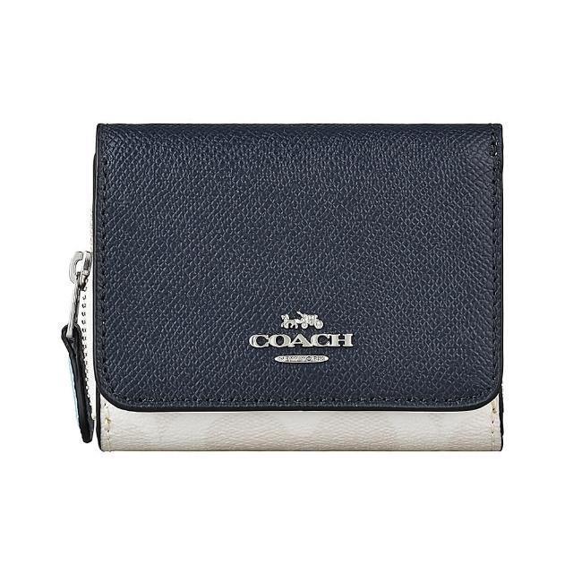 【COACH】COACH銀字LOGO防刮牛皮拼接PVC2卡釦式三折短夾(午夜藍x粉白)
