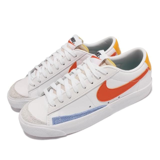 【NIKE 耐吉】休閒鞋 Blazer Low 77 運動 女鞋 經典款 麂皮 皮革 舒適 橡膠外底 穿搭 白 橘(DC4769-105)