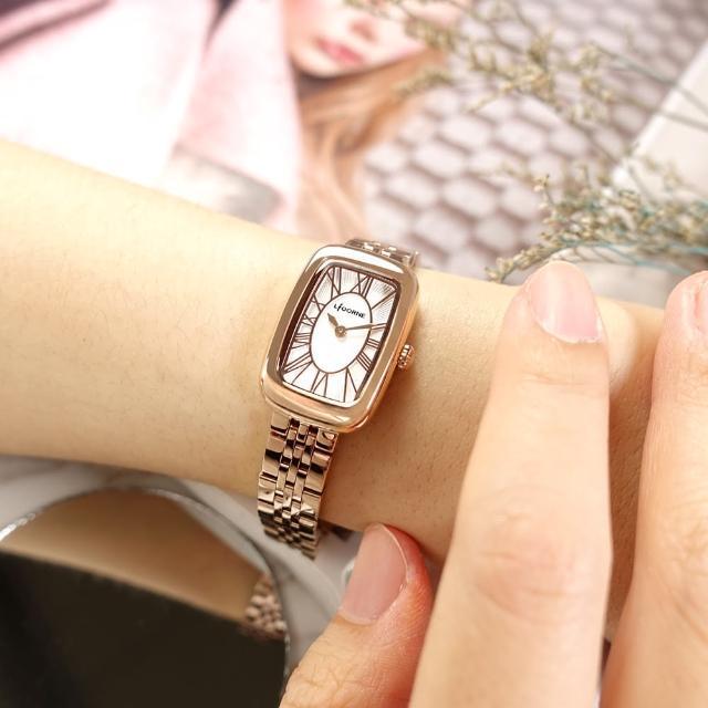 【LICORNE】優雅迷人 復古方形 羅馬刻度 不鏽鋼手錶 白x鍍玫瑰金 19mm(LT152LRWR)
