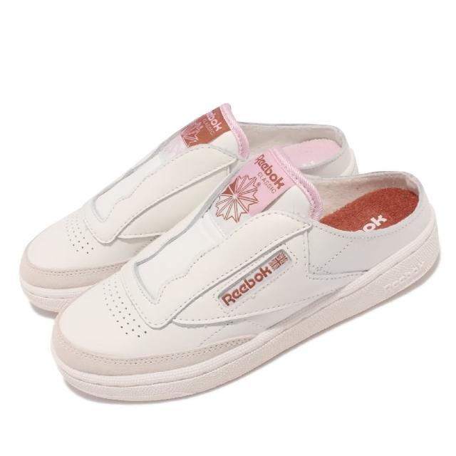 【REEBOK】休閒鞋 Club C Laceless Mule女鞋 套腳 半包拖鞋 輕便 休閒穿搭 鴛鴦 米白 粉(GZ5319)