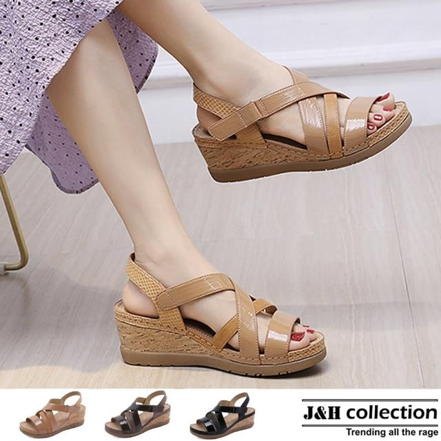 【J&H collection】經典軟皮坡跟厚底羅馬涼鞋(現+預 杏色 / 棕色 / 黑色)