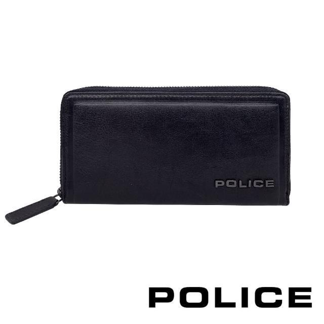 【POLICE】限量1折 義大利潮牌 頂級小牛皮拉鍊長夾 全新專櫃展示品(復古系列)