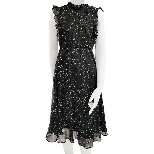【SHOWCASE】俏麗水玉點點小荷葉領無袖拼接雪紡小洋裝(黑色)