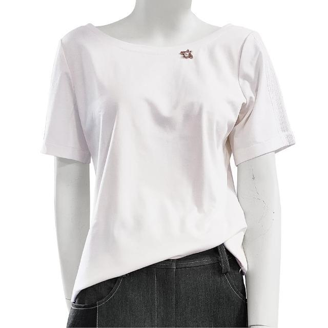 【SHOWCASE】俏麗圓領蕾絲短袖後交叉素色棉質 T恤(白色)
