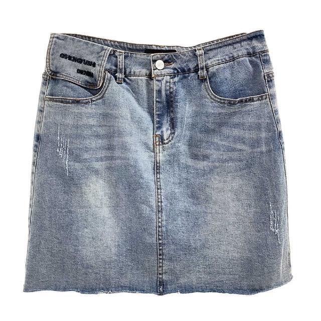 【SHOWCASE】率性刷破襬腰封繡字牛仔窄短裙(藍色)