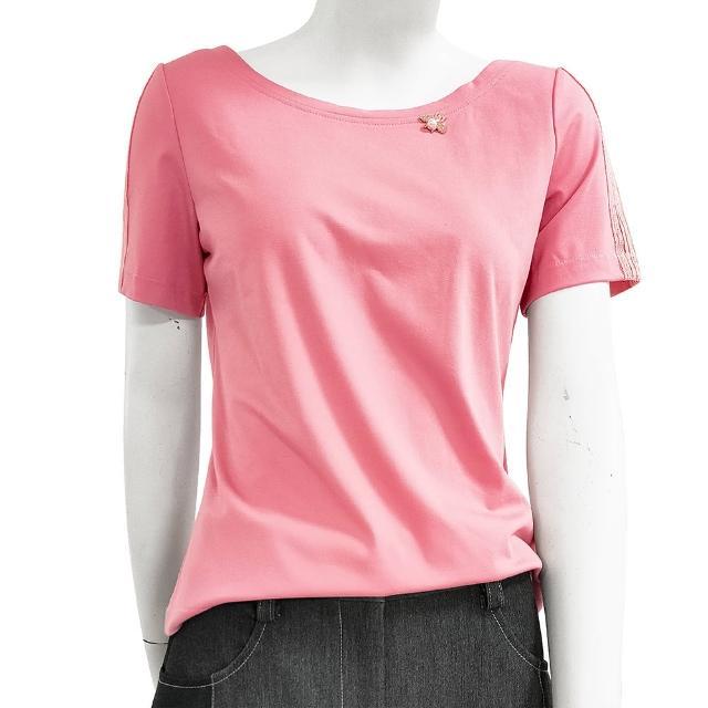 【SHOWCASE】俏麗圓領蕾絲短袖後交叉素色棉質 T恤(粉色)
