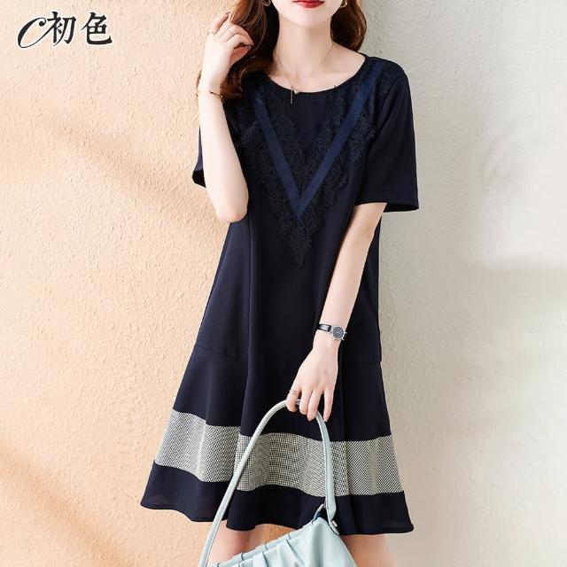 【初色】蕾絲拼接荷葉邊洋裝-藏藍色-99550(M-2XL可選)