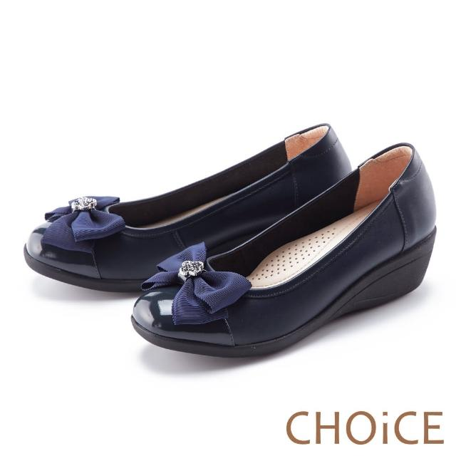 【CHOiCE】蝴蝶結鑽飾真皮楔型 女 中跟鞋(藍色)