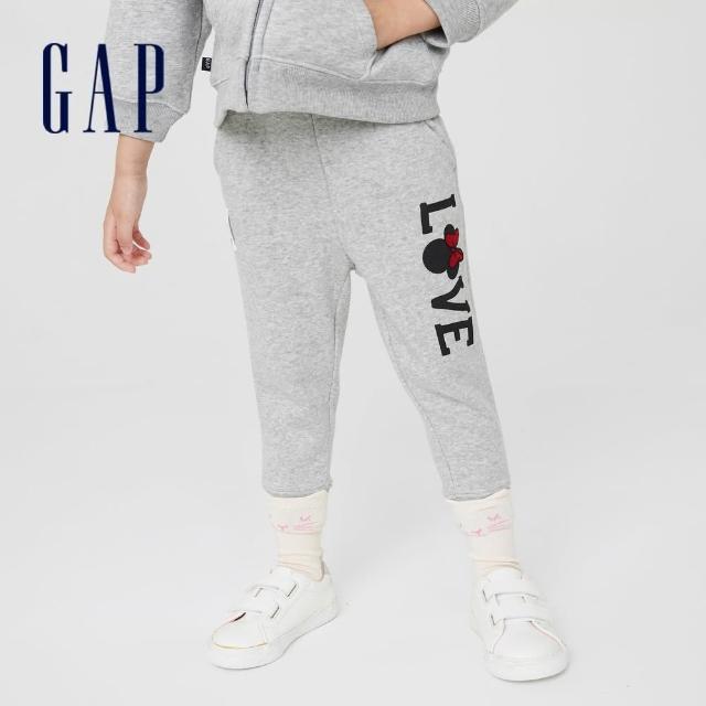 【GAP】女幼童 Gap x Disney 迪士尼系列印花刷毛休閒褲(731998-灰色)