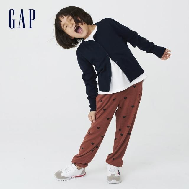 【GAP】女童 可愛寬鬆針織長褲(731191-橙紅色)