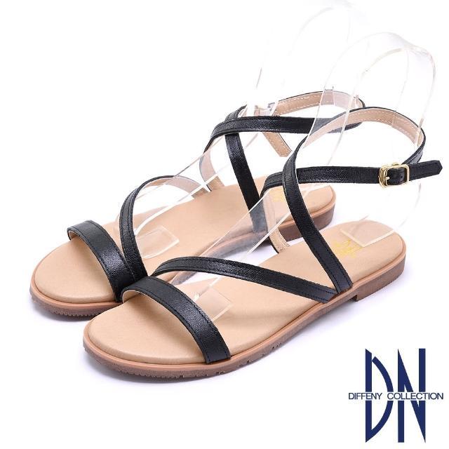 【DN】涼鞋_MIT質感真皮交叉線條平底涼鞋(黑)