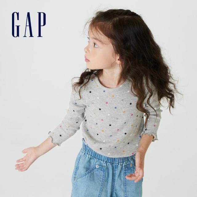 【GAP】女幼童 純棉印花華夫格長袖T恤(708835-淺灰色)