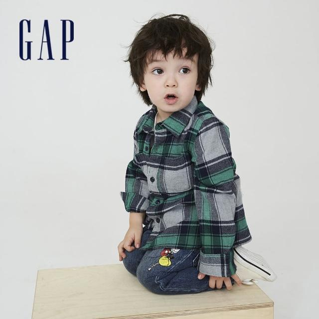 【GAP】男幼童 純棉寬鬆格紋長袖襯衫(707875-綠色格子)