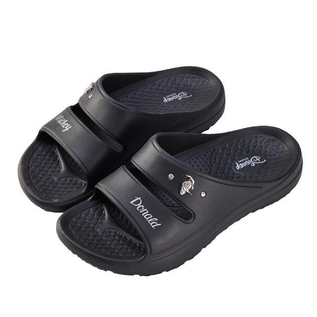 【Disney 迪士尼】迪士尼女鞋 米奇與唐老鴨 運動風輕量防水厚底拖鞋-黑(MIT台灣在地工廠製造)