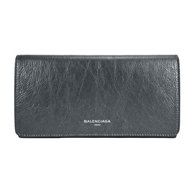 【Balenciaga 巴黎世家】經典燙印LOGO小羊皮翻蓋長夾(鐵灰)