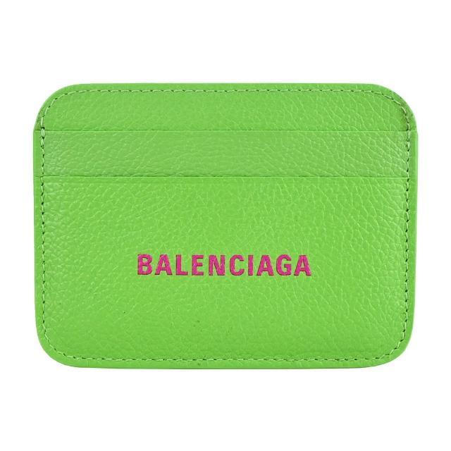 【Balenciaga 巴黎世家】經典LOGO小牛皮拼色卡片夾(綠)