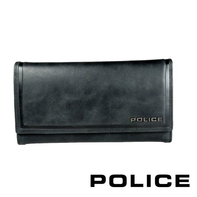 【POLICE】限量1折 義大利潮牌 頂級小牛皮鈕扣翻蓋長夾 全新專櫃展示品(復古系列)