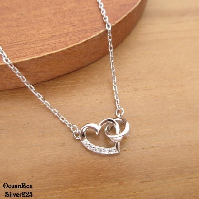 【海洋盒子】優雅漂亮鑲鑽圓環愛心925純銀項鍊.短鍊(925純銀外鍍專櫃級正白K)