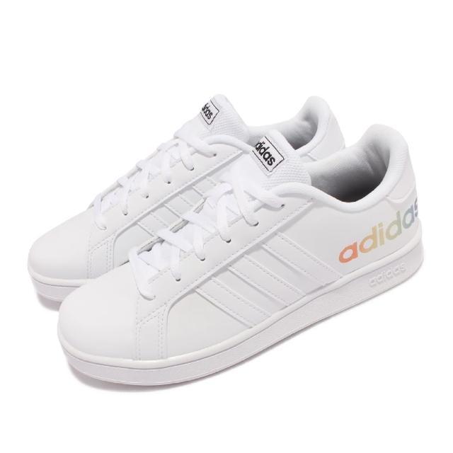 【adidas 愛迪達】休閒鞋 Grand Court K 運動 女鞋 愛迪達 Pride系列 大童鞋 舒適穿搭 白 彩(H02289)