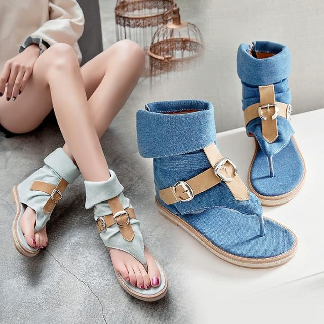 【A3】時尚牛仔羅馬涼靴(柔軟舒適防滑鞋.百搭款)