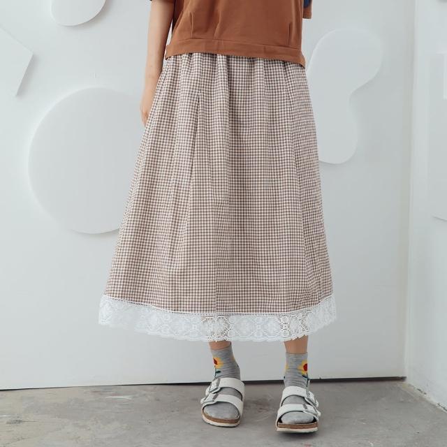 【MOSS CLUB】蕾絲細格森系裙子-女長裙 蕾絲 藍 駝(二色/魅力商品/版型合身)