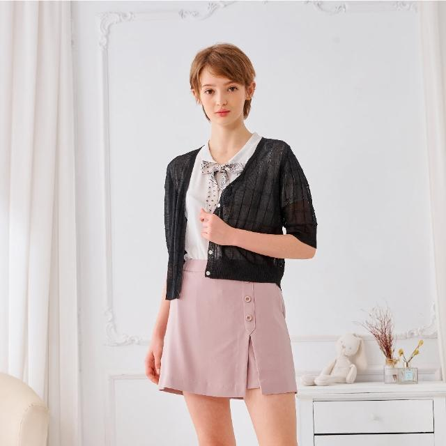 【KiKi】蕾絲格紋-女五分袖針織衫 格紋 藍 黑 白(三色/魅力商品/版型合身)