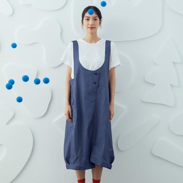 【MOSS CLUB】大口袋仿牛仔氣球吊帶裙-女長裙 藍(藍色/版型寬鬆)