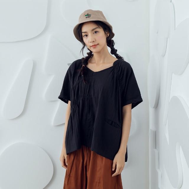 【MOSS CLUB】V領細折寬鬆-女短袖上衣 V領 藍 黑 白(三色/魅力商品/版型寬鬆)