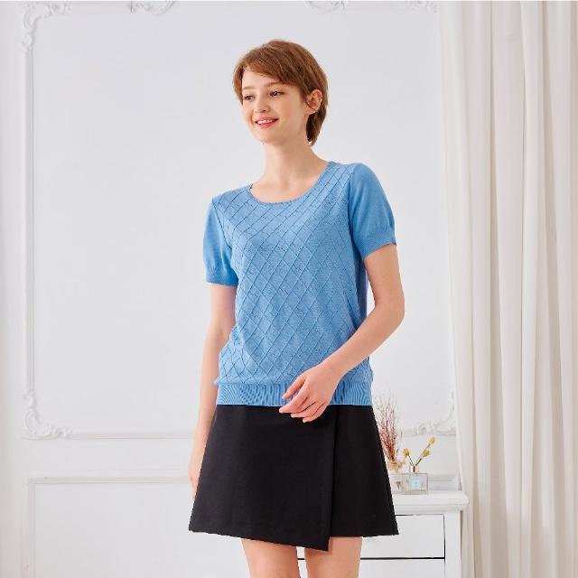 【KiKi】簡約菱格圓領-女短袖針織衫 素色 藍 駝 黃(三色/魅力商品/版型合身)
