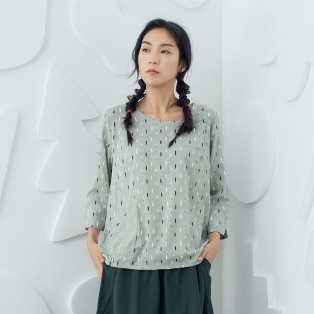 【MOSS CLUB】直條印花箱型口袋-女七分袖上衣 印花 藍 綠(二色/版型合身)