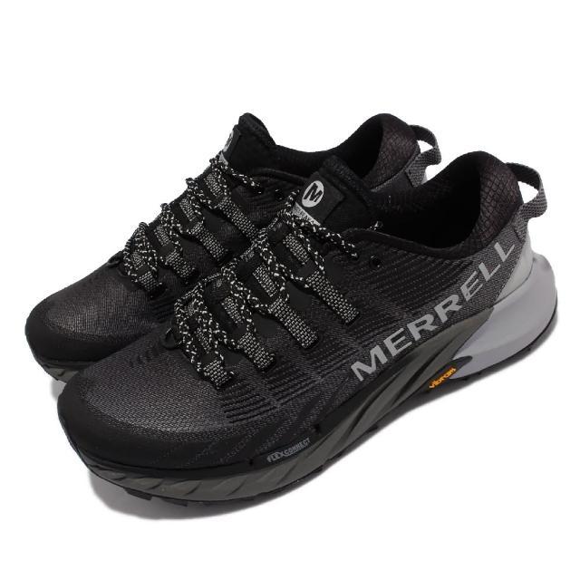 【MERRELL】慢跑鞋 Agility Peak 4 男鞋 彈性 支撐 回彈 耐磨 黃金大底 黑 灰(ML135107)
