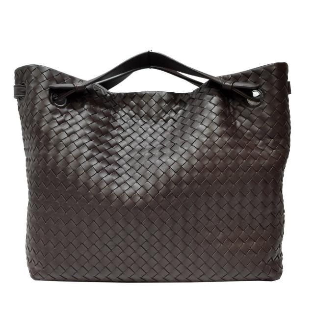 【BOTTEGA VENETA 寶緹嘉】643210 經典手工編織小羊皮中性款手提包(深棕色)