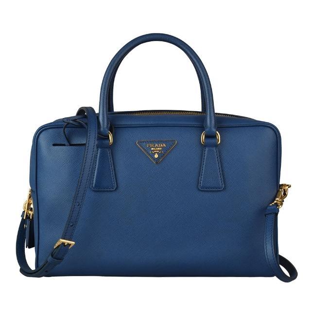 【PRADA 普拉達】PRADA SAFFIANO金三角鐵牌LOGO掛鎖設計防刮牛皮拉鍊手提斜背包(藍)