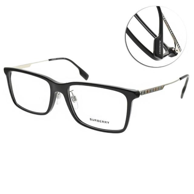 【BURBERRY 巴寶莉】光學眼鏡 經典格紋多邊方框(黑-槍銀 #B2339F 3001)