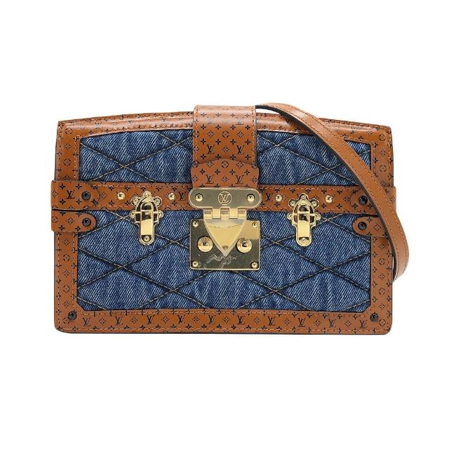【Louis Vuitton 路易威登】Trunk clutch 丹寧拼接牛皮斜背包(M55047-咖/藍)