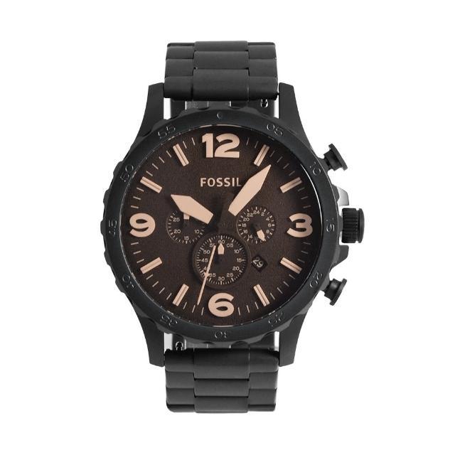 【FOSSIL】咖啡色面 黑框 三眼計時 黑色不鏽鋼錶帶 父親節禮物首選(JR1356)