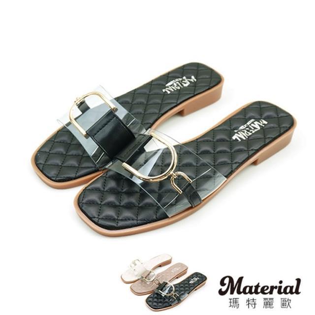 【MATERIAL】拖鞋 韓系菱格一字帶拖鞋 MA女鞋 T4872(拖鞋)