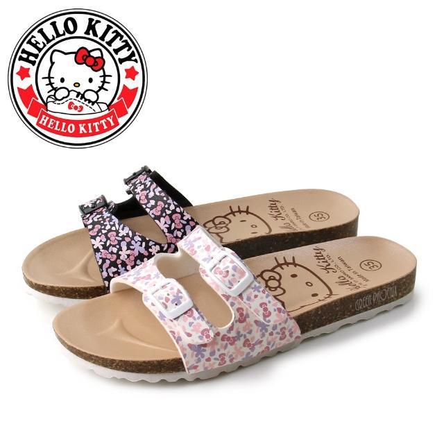 【HELLO KITTY】凱蒂貓雙皮帶釦蝴蝶結碎花平底拖鞋(白色、黑色)