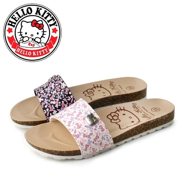 【HELLO KITTY】凱蒂貓一字寬面蝴蝶結碎花平底拖鞋(白色、黑色)