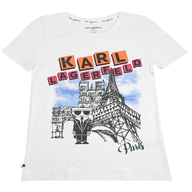 【KARL LAGERFELD 卡爾】老佛爺 巴黎公仔圖案個性棉短T(白)