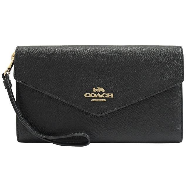 【COACH】金色LOGO素雅手提式寬版三折護照零錢長夾(黑)
