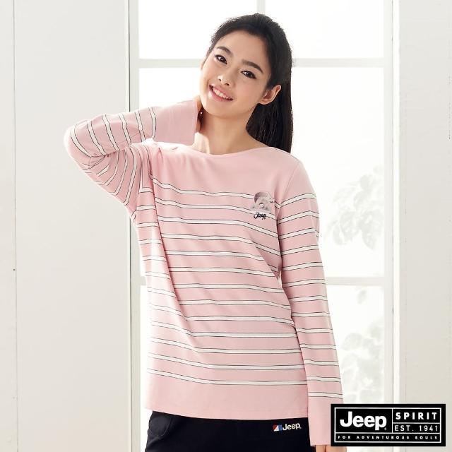 【JEEP】女裝 北極熊圖騰條紋長袖T恤(粉)