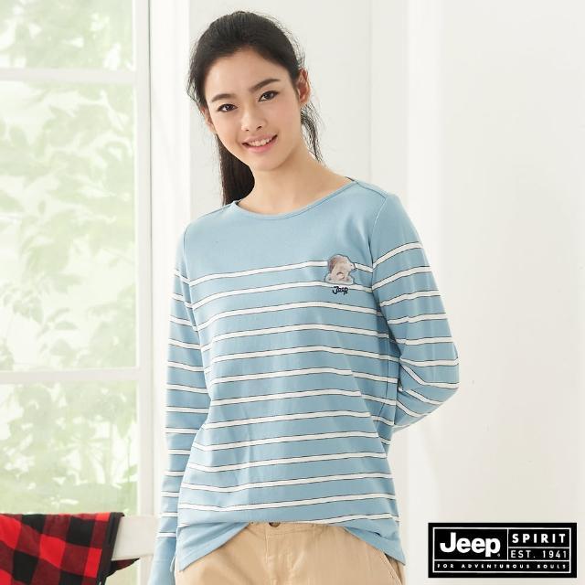 【JEEP】女裝 北極熊圖騰條紋長袖T恤(天空藍)