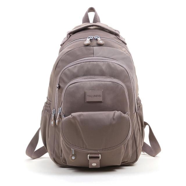 【VIVI SECRET】素色休閒防潑水多隔層手提/後背包(可可色 大容量後背包)