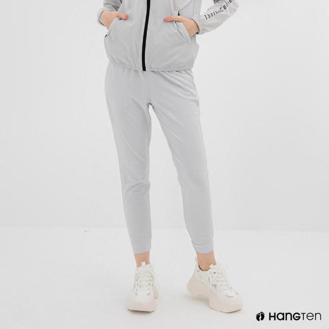 【Hang Ten】女裝-恆溫多功能-REGULAR FIT標準四向彈力吸濕快乾抗曬運動長褲-灰白色